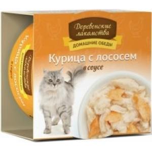 Домашние обеды для кошек курица с лососем в соусе, 80 г