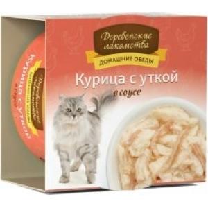 Домашние обеды для кошек курица с уткой в соусе, 80 г