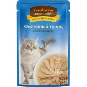 Домашние обеды для кошек филейный тунец в нежном желе, 70 г