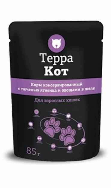 ТерраКот пауч для кошек с печенью ягненка и овощами в желе